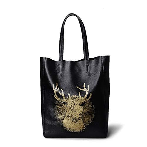 Faus Koco Ms. Leather Big Bag Simple Leather High-capacity Portable Backpack/Shoulder Bag (Color : Black)