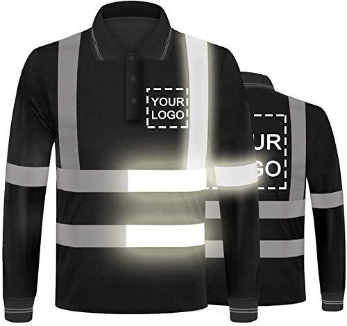 YOWESHOP - Camiseta de alta visibilidad con tiras reflectantes de manga larga y logotipo personalizado con tiras reflectantes de alta visibilidad, secado rápido Negro Negro (estilo 6) L