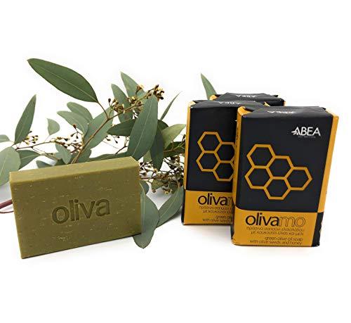 ABEA® | 4er-Set grüne Olivenöl-Seife mit HONIG | 4x 125g (500g) | vegane Naturseife | Spar-Pack 3+1 | festes Duschgel Haarseife Handseife Duschseife Peeling