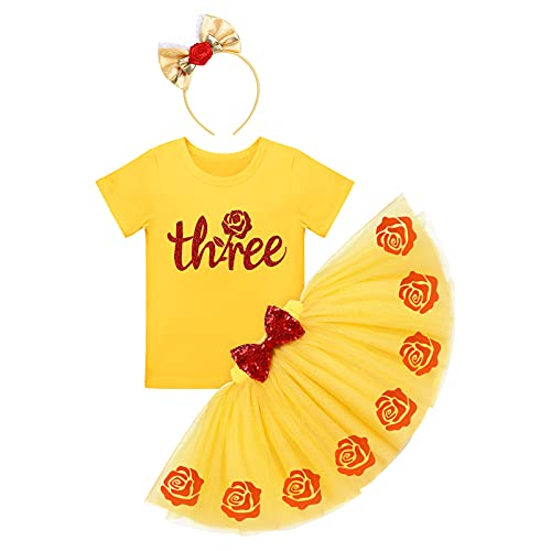 FYMNSI Disfraz de princesa para niña, Blancanieve, Cenicienta, Bella Durmiente, disfraz de Sofía para cumpleaños, conjunto de 3 piezas Yellow-three 3 años