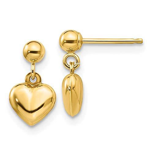 14k Yellow Gold Heart Drop Dangle Chandelier Post Stud Earrings Love Fine Jewelry For Women Gifts For Her
