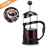RAINBEAN French Press Coffee Maker, Quality Large Tea Maker, Perfect for Morning Coffee, Maximum Flavor Coffee Brewer with Stainless Steel Filter, 12 oz/350 ML - Black