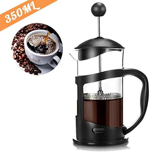 RAINBEAN cafetera de Prensa Francesa Gran Tetera de Calidad café de la mañana, cafetera de Sabor máximo con Filtro de Acero Inoxidable, Negro (350 ml)