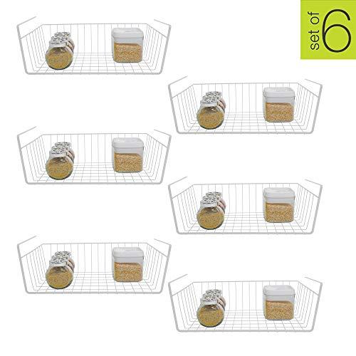 Smart Design Undershelf Storage Basket - Medium - Snug Fit Arms - Steel Metal Frame - Rust Resistant Finish - Cabinet, Pantry, Shelf Organization - Kitchen (16 x 5.5 Inch) [White] - Set of 6