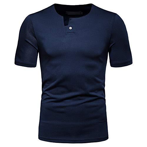 Camisa Deportiva Hombre Elástica Deportiva Causal Hombre Manga Corta Verano Básica Color Sólido Camiseta Hombre Elástica Ajustada Correr Hombre Tshirt C-Navy Blue L