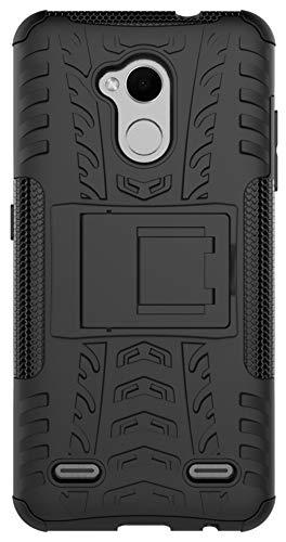 XINFENGDI Funda ZTE V6 Plus/V7 Lite/Blade A2, Carcasa Dura Protección 360° Cubiertas Móviles Anticaídas Resistente Arañazos TPU Caso Protector para ZTE V6 Plus/V7 Lite con Soporte de Pie - Negro