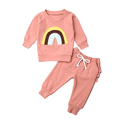 Newborn Baby Girls Outfits Clothes Autumn Long Sleeve Rainbow Top Pink Pants Belt Closed Infant Winter Playsuit (0-6Months) …