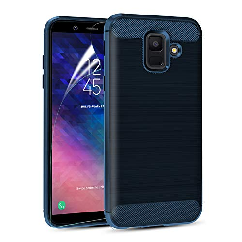 MMDcase Samsung Galaxy A6 2018 Case with Screen Protector, Carbon Fiber Soft TPU Phone Case Brushed Texture Anti-Fingerprint Flexible Full-Body Protective Cover Shell for Girls Women Men Boys, Navy