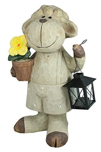 colourliving Schaf Figur mit Laterne Gartenfigur Tierfigur Lamm Osterlamm Schaf Deko 40 cm Gartendeko Osterdekoration
