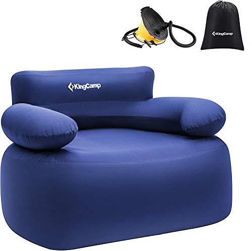 KingCamp エアーソファー 空気 椅子 携帯便利 空気入れ付き アウトドア椅子 空気ソファ ひとり掛け ワイド 長108x幅78cm 耐荷重300kg カウチソファ エアソファー 海水浴 日光浴 キャンプ 収納袋付き
