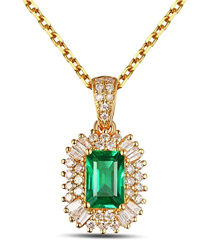 Epinki 18k Oro Collar de Mujer óvalo Colgante Joyería Nupcial Cadena Oro con Blanco Verde Diamante Esmeralda
