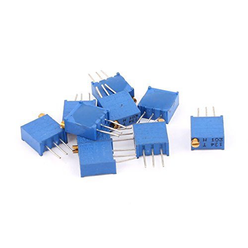 sourcingmap 10 Pcs 3296W 10K ohm Multiturn Potentiometer Pot Variable Resistor
