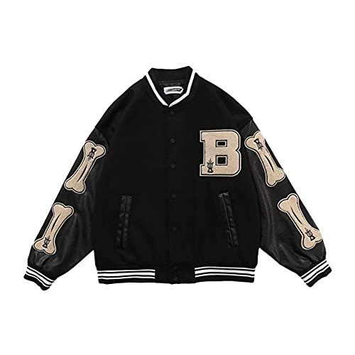 Chaquetas de Bloques de Color Peiny Hip-Hop Bones Patchwork, Harajuku Streetwear Chaqueta Bomber de Hombres, Abrigos de béisbol Unisex (Color : Black, Size : M)