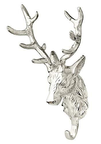 EDZARD Wanddeko, Aufhänger Hirschkopf, mit Garderobenhaken, Aluminium vernickelt, silberfarben, Höhe 27 cm