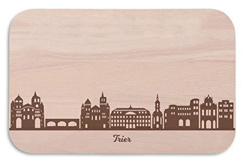 Frühstücksbrettchen Trier mit Skyline Gravur - Brotzeitbrett & Geschenk für Trier Stadtverliebte & Fans - ideal auch als Souvenir