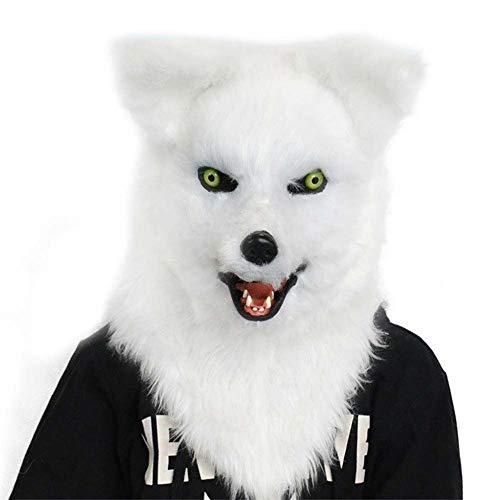 LULI Bewegen Mund Scary Fox Maske Furry Maske Gruselige Halloween Animal Show Props Tiermaske gruseliges (Color : White, Size : One size)