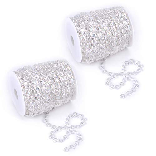 Tosnail 200 ft Crystal Beads by The Roll Crystal Beads String Beads Chain Crystal Garland Roll for Wedding Decorations Party Decoration Crafting Projects - Iridescent