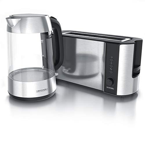 Arendo - Glas Wasserkocher Edelstahl 1,7 Liter mit LED + Arendo Edelstahl Toaster Langschlitz mit Brötchenaufsatz - Küchen Set - Silber