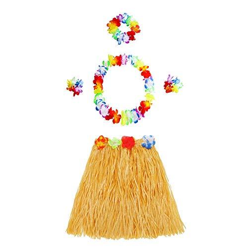 Nueva guirnalda pulsera diadema corona de flores y faldas hawaianas hierba DIY cumpleaños decoraciones de fiesta tropical suministros (color: amarillo)