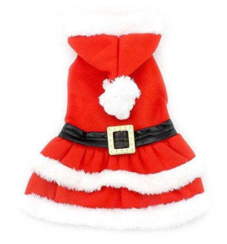 smalllee Lucky Store Cane Gatto Costume Natale Pet Tuta Chihuahua Felpa con Cappuccio Inverno Santa Vestiti Rosa M