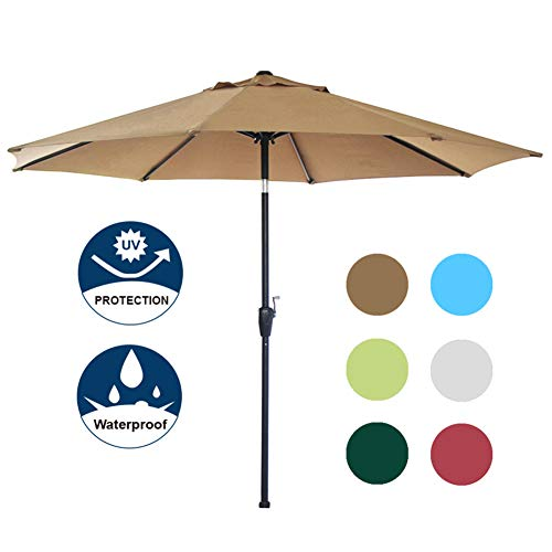 Blissun 9' Outdoor Market Patio Umbrella with Auto Tilt and Crank, 8 Ribs (Tan)