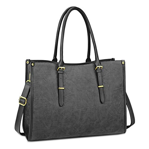 Laptop Bags for Womens Ladies Handbags 15.6 Inch Large Shoulder Tote Bag Leather Laptops Briefcase for Office School Travel Work Business Grey