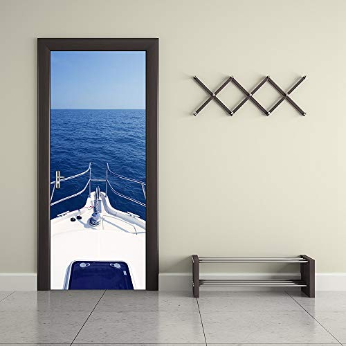 Deurssticker, renovatie, deurstickers, 3D-zelfklevende stickers voor binnendeuren, witte boot op zee waterdichte deur, renovatie, muurstickers voor woon- en slaapkamer Small