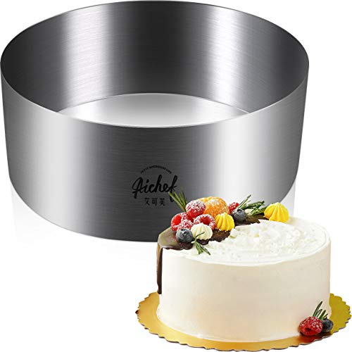 Seamless Stainless Steel Mousse Cake Mold Ring Baking Decor Mould 304 Stainless Steel Mousse Mould Cheese Cake Mousse Ring (aichef 8 inch round stainless steel mousse ring)