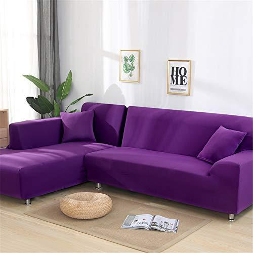 THJ Funda de sofá Chaise Longue, todo incluido, en forma de L, de tela jacquard elástica, de poliéster, funda de sofá de esquina, funda de sofá (morado, individual)