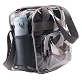 Haoguagua Heavy-Duty Clear Stadium Bag Clear Crossbody Tote Bag NFL & PGA Stadium Approved 12 x 12 x 6, with Extra Long Adjustable Shoulder Strap and Handles (Grey)