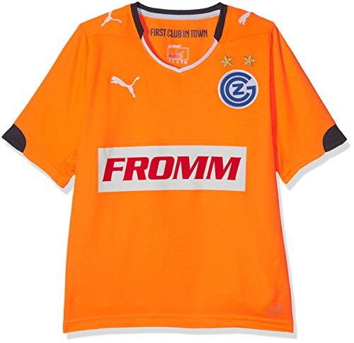 PUMA Kinder Trikot GCZ Away Shirt Replica ohne Sponsor Logo, Fluro Orange-Ebony, 176, 924032 01