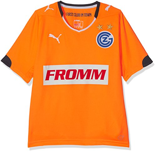 PUMA Kinder Trikot GCZ Away Shirt Replica ohne Sponsor Logo, Fluro Orange-Ebony, 176, 924032 01