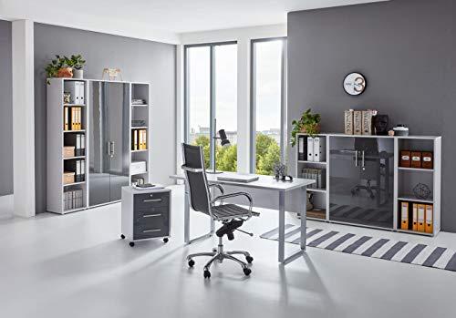 BMG-Moebel.de Büromöbel komplett Set Arbeitszimmer Office Edition Mini in Lichtgrau/Anthrazit Hochglanz (Set 5)