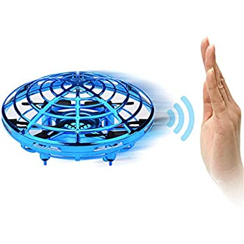 Suitable for Boys and Girls Childrens Gifts Blue Remote Control Quadcopterv Interactive Infrared Sensor Remote Control Helicopter Toy DAXHU UFO Flying Toy 360/° Rotating and Flashing LED Lights
