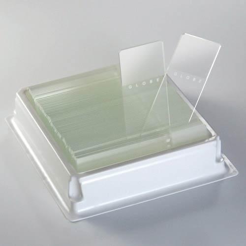 Globe Scientific Diamond 1380-50W White Glass Microscope Slide, 25 x 75mm Size, Ground Edges, White Frosted (1,440 slides)