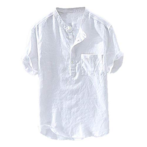 YEBIRAL Herren Hemd Kurzarm Leinenhemd Henley Shirt Männer Übergröße Einfarbig Leinen Freizeithemd Casual Lässig Bequem Atmungsaktiv Sommerhemden Loose Fit(6XL,Weiß)