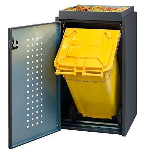 Mülltonnenbox für 240L Tonne mit Pflanzenwanne aus Aluminium schwarz, Mülltonnenhaus, Mülltonnenverkleidung