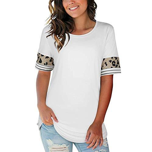 Mode Damen Leopard Spleißstreifen Rundhals lässig Kurzarm Tops,Damen T-Shirt Basic Shirt T-Shirt Grafik Print Rundhals Kurzarm Hemd Oberteile Teenager Mädchen Tee Sommer Tops(Weiß:XL)