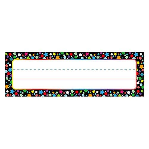 Desk Name Plate Confetti-Themed for School Classroom 50 Pcs, Back-to-School Decoration, Teacher/Student Use for Classroom/School Decoration