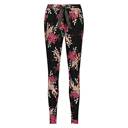 HUNKEMÖLLER Damen Lange Jersey Pyjama-Hose mit Aufdruck Schwarz S