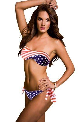 Locomo fFS017L bikini pour femme avec motif uSA flag, rembourré, sans bretelles-bas à nouer sur les côtés, taille l (bleu/rouge/blanc