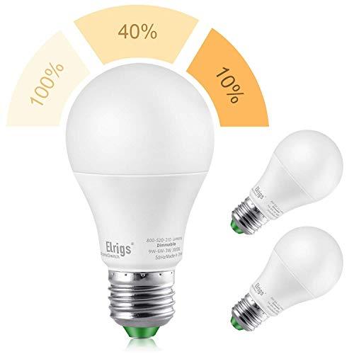 Elrigs 3-in-1 E27 LED Lampe, Dimmen ohne Dimmer, 9W-3.5W-2W, Warmweiß(3000K), Szenenwechsel, ersetzt 60W-25W-15W, 800/280/130-Lumen, 2er-Pack