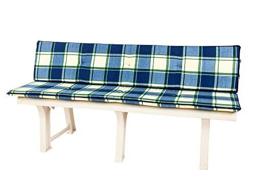 Kettler Polen KETTtex 2163 Auflage Gartenbank 2-teilig blau kariert Sitzpolster 150 cm