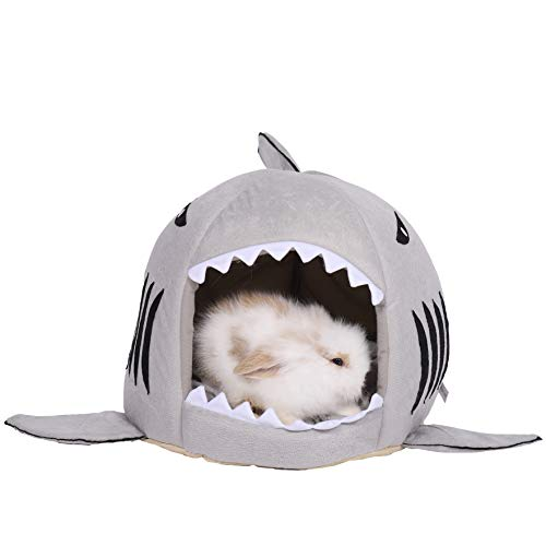 Spring Fever Hamster Guinea Pig Rabbit Dog Cat Chinchilla Hedgehog Small Animal Pet Bed Fleece Cushion Shark House Hideout Cage Accessories Grey M