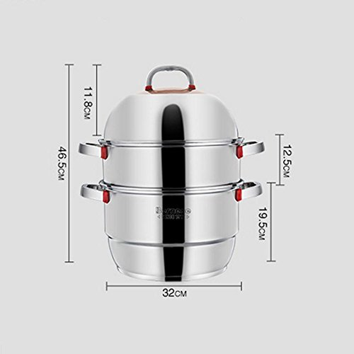 LXZ Acier Inoxydable Cuit Vapeur Cuits À La Vapeur Double Lattice Hot Pot De Soupe Épaisse Deux Couche Double Couche Chinois Kicthen Cuisinière Universel Chaudières Brew Cookware 28,30,32Cm 2 Layers , 32Cm