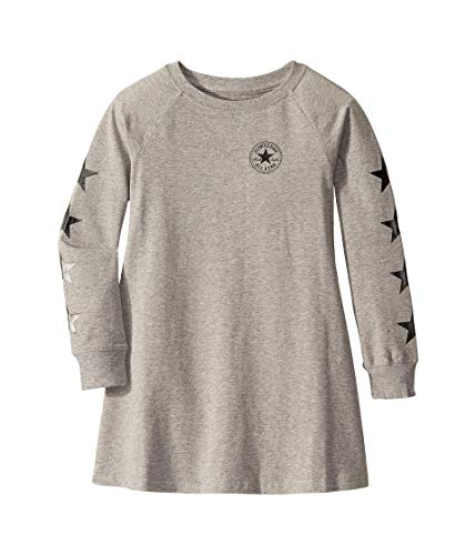 Converse Kids Girl's Long Sleeve Chuck Patch Dress (Little Kids) Dark Grey Heather 6 Little Kids
