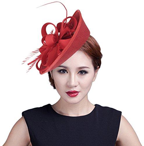 Y-BOA Chapeau Bibi Voile Plume Fleur Cheveux Cérémonie Mariage Femme Rouge