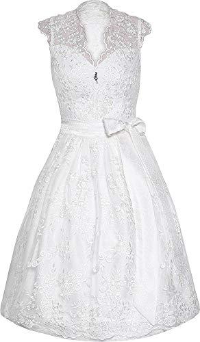 MarJo Dirndl Eudora 65er Länge weiß | Hochzeits-Dirndl & Hochzeitskleid aus Spitze | Rückenfrei & V-Ausschnitt | Standesamt | Hochwertige Qualität (36)