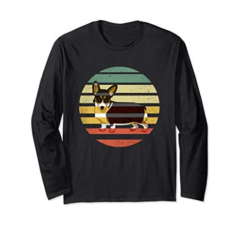Cute Retro Black Tricolor Pembroke Welsh Corgi Dog RBTPWC Long Sleeve T-Shirt