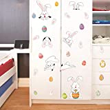 Shan-S Easter Wall Sticker Personality Rabbit Easter Stickers Refrigerator Stickers PVC Self Adhesive Removable Decorative Graffiti Wall Stickers Mural Decal Home Living Room Decor